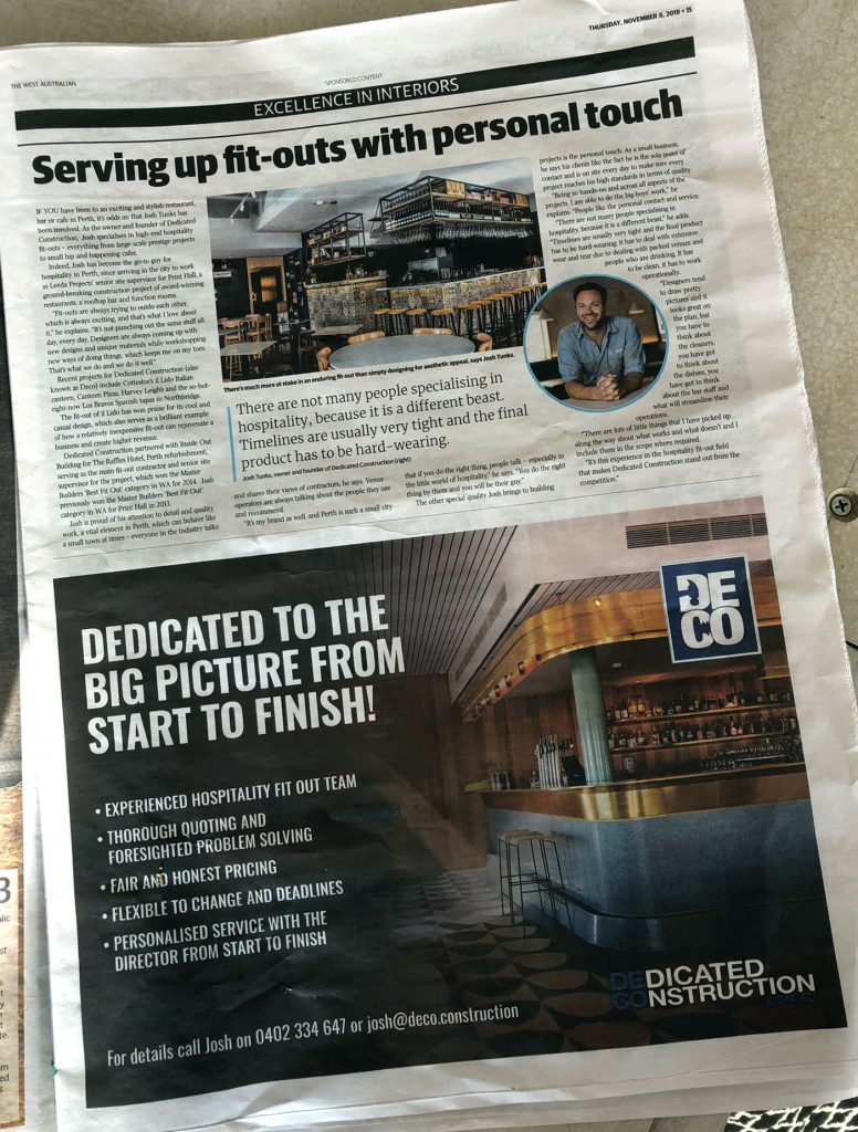 Dedicated Construction Article in The West Australian
